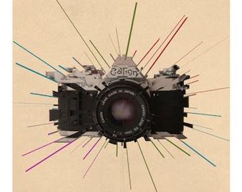 Vintage camera, print, Photography art, poster, vintage print, Canon Camera, 35mm SLR, lomo print, poster print, modern print, camera art