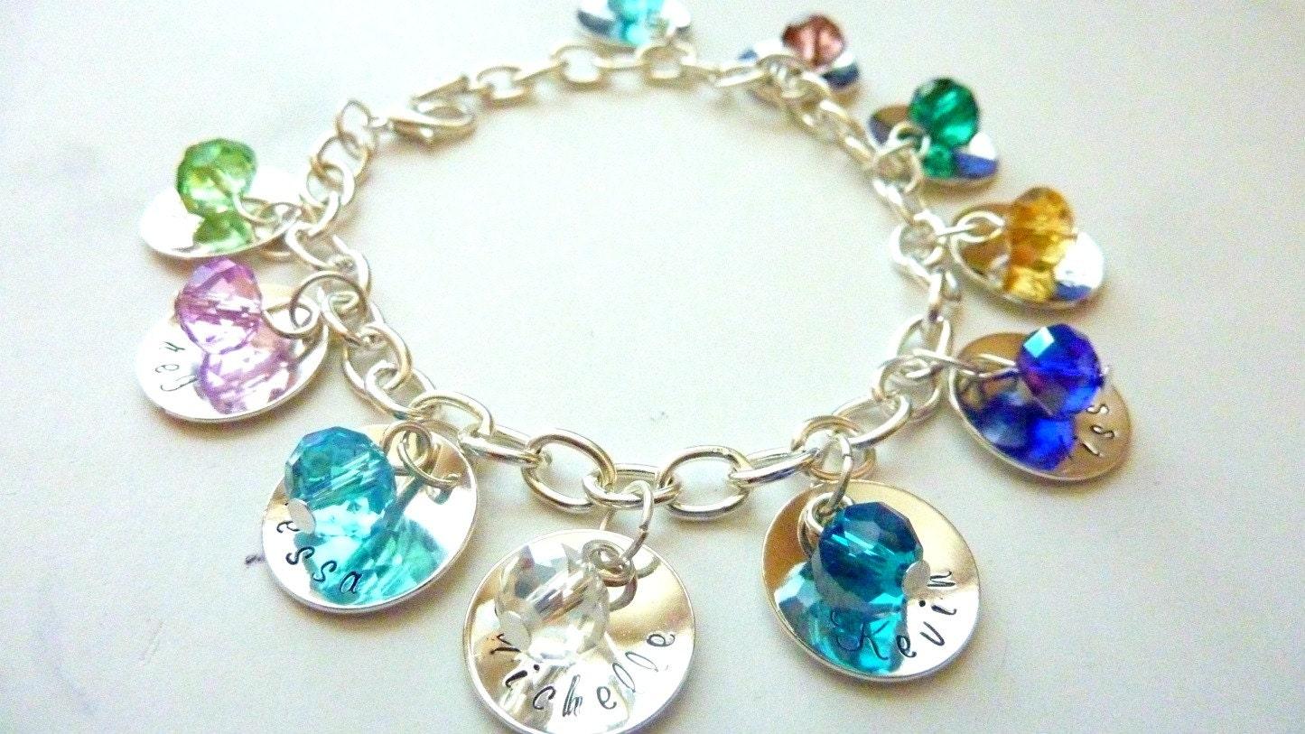 mother 39 s day personalized charm bracelet grandma bracelet. Black Bedroom Furniture Sets. Home Design Ideas
