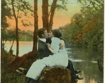 Antique 1913 Bamforth Romantic Photo Postcard ~ Hope You Enjoyed Yourself