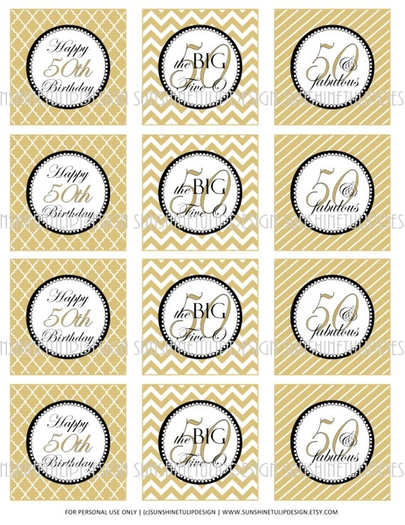 50th Birthday Printable DIY Party Tags and Cupcake Toppers by
