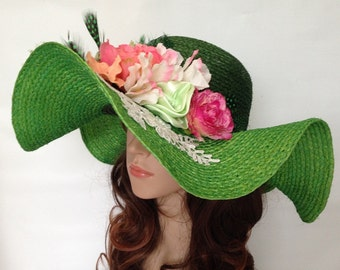 A Dark Green Top And Light Green Brim Sisal Church Or Summer Wide Wavy  Brim Hat With Flowers And Lace