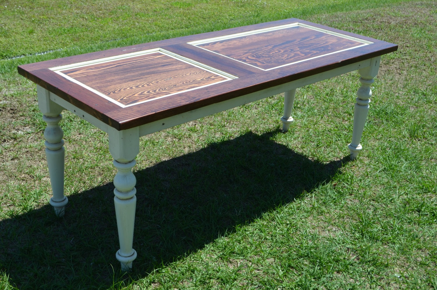 Wooden door table desk console dining upcycled for Upcycled dining table