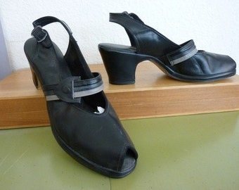 1940s New Old Stock Black Grey Peeptoe Shoes