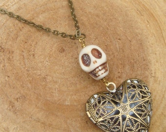 Antique Brass Turquoise Skull Locket Necklace Victorian Jewelry Gift Vintage Style