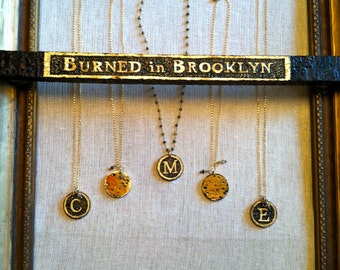 Original BurnedinBrooklyn handmade wood burned initial pendant