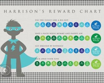 Personalised Superhero Reward Chart | Instant Download | Kids reward charts | Tomfo | Editable PDF | Chore Chart Printable | Daily chores