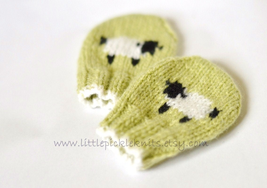 Knitting Pattern For Baby Mittens Without Thumb : PDF KNITTING PATTERNS baby mittens little baa baa