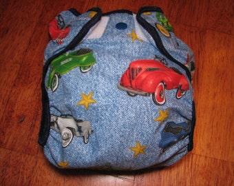 vintage cars denim cloth diaper cover, waterproof PUL, medium