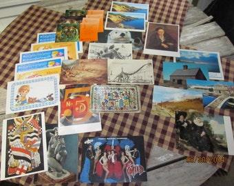 Huge Mixed Lot 29 Vintage Postcards Post Cards Assortment Paper Ephemera Animals Museum Travel