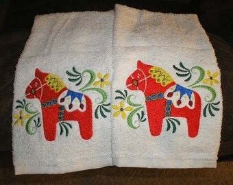Pair of hand towels - Swedish dala horse - EMBROIDERED  15 x 25 inch for kitchen / bath