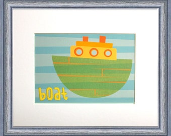 Matted Children's boat Print