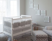 Gender Neutral Baby Bedding / Girl Crib Bedding / Boy Bedding: Gray and White Dots and Stripes 2-Piece Crib Bedding Set by Carousel Designs