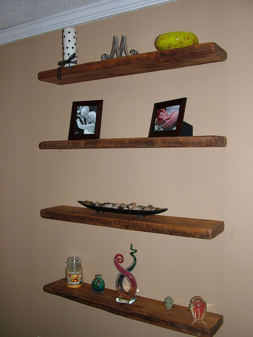 reclaimed barn wood floating shelves 4 40x8x2 by. Black Bedroom Furniture Sets. Home Design Ideas