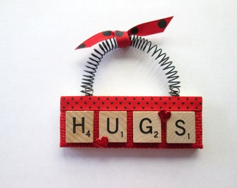 Hugs Scrabble Tile Ornament