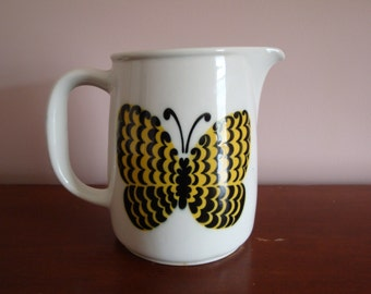 "6-1/4"" Arabia Finland Yellow Butterfly Pottery Pitcher ~ 6 1/4"" Tall ~ 40 ozs. ~ Perho Pitcher  ~ Kaj Frank ~ Birger Kaipiainen ~ 1960s"