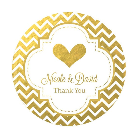 Round Wedding Invitation Label 1: Gold Foil Stickers Silver Foil Labels Personalized Round