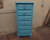 Turquoise 6 Drawer French Provincial Lingerie Dresser Chest