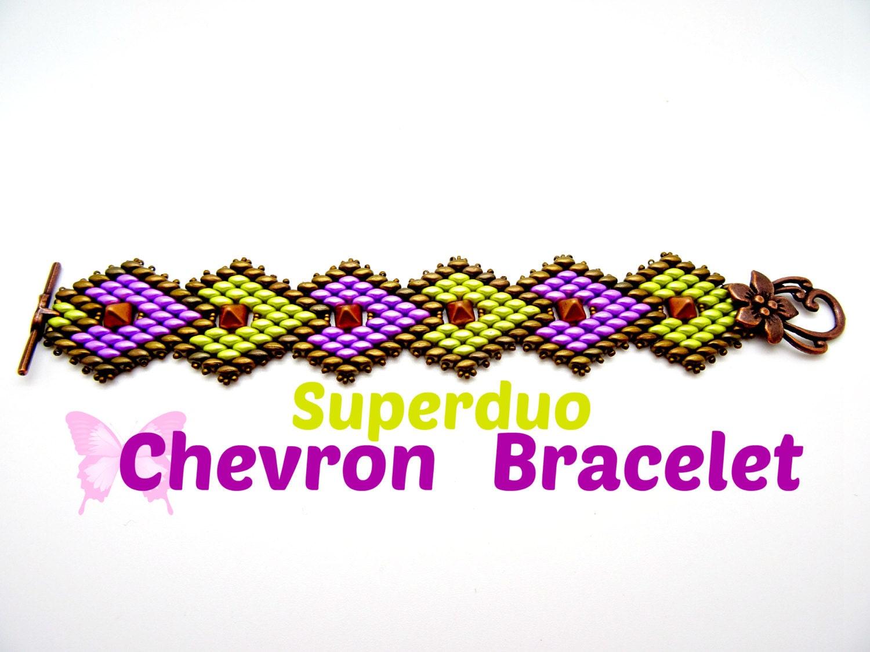 Tutorial Superduo Chevron Bracelet Pattern With Super Duo Twin