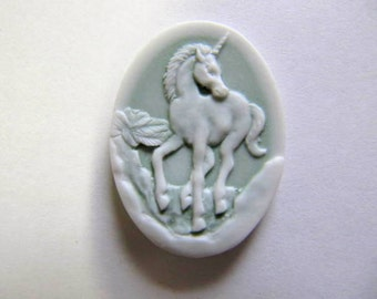 Cameo, Unicorn, 25x18mm, Mint Green, 2 Peice, Resin, Acrylic, Bead Embroidery Cabochons, Pendant, Jewelry