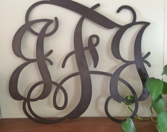 Metal Initials Wall Hanging Delectable Metal Monogram  Etsy Design Decoration