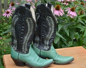 RESERVE for Scout Vintage 80s Olathe Women's Western Boots Leather Cowboy Boots Size 7A Black Emerald Green Single Welt Stitch