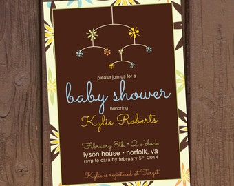 Mid-Century Modern Mobile Baby Shower Invitation