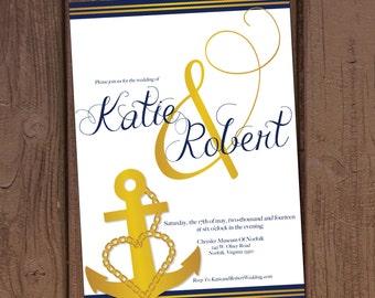 navy military wedding invitation - Military Wedding Invitations