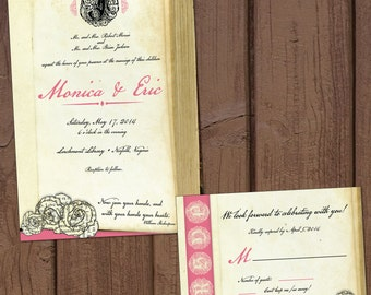 Book/Literary Wedding Invitation with Response Card