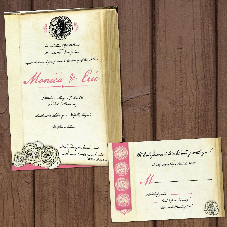 Book/Literary Wedding Invitation With Response Card