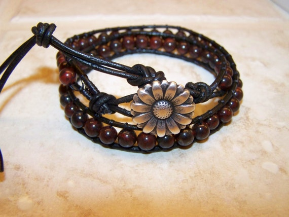 Double Wrap Black Leather Jasper Bracelet