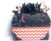 Gift Bag Designer purse style Halloween styled orange chevron and black print 6x4