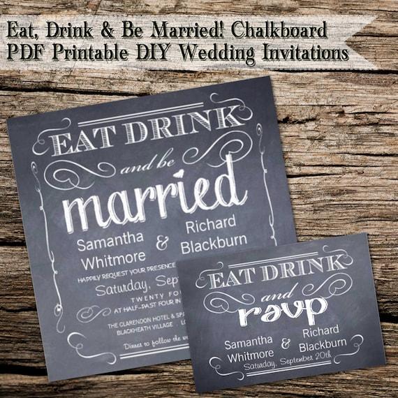 Diy Chalkboard Wedding Invitations: Eat Drink And Be Married Chalkboard DIY Wedding Invitations