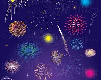 FIREWORKS Clip Art: Digital Fireworks Clipart, Instant Download, New Years Eve 4th of July Vector Art Icons Graphics