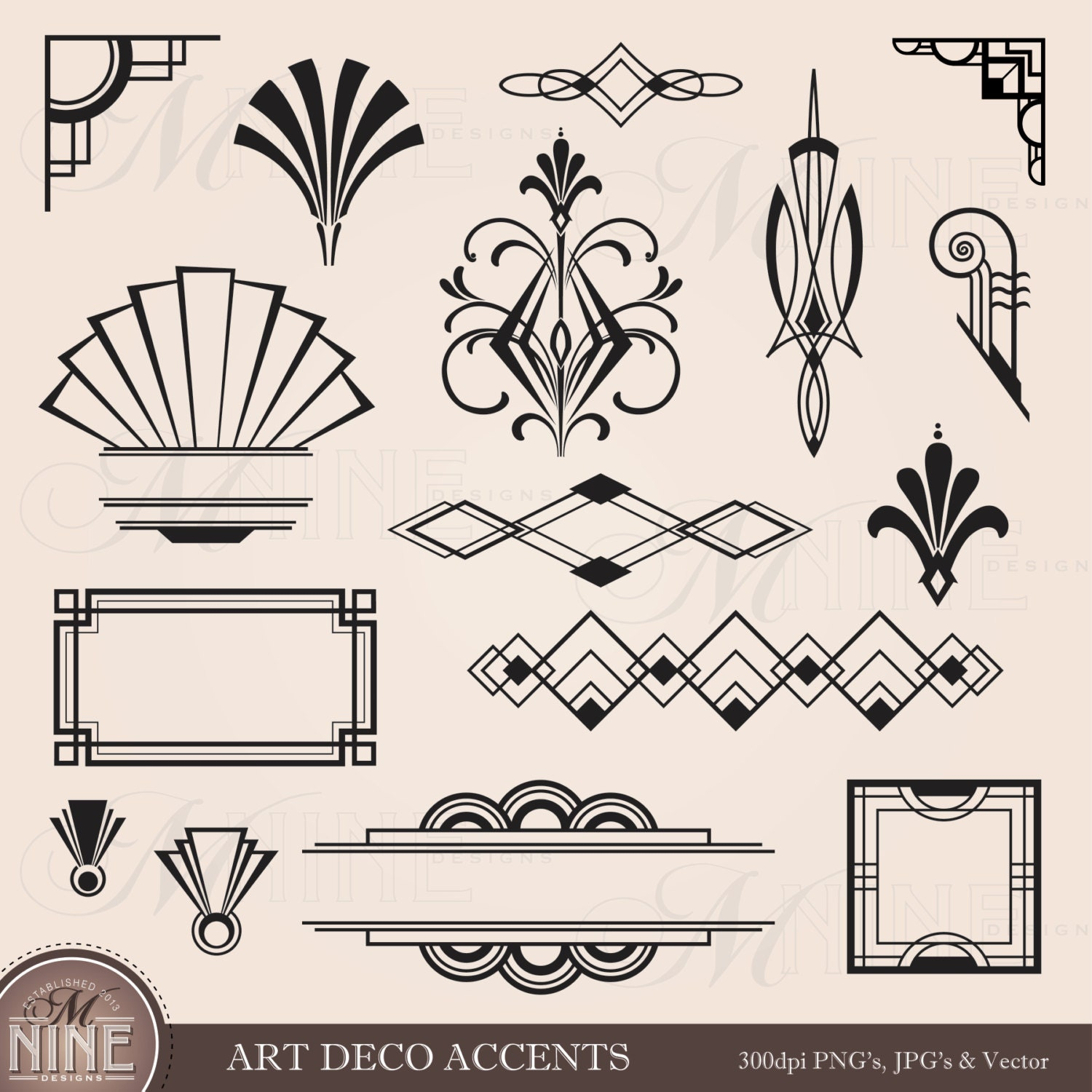 Digital clipart art deco design elements frames borders for Deco design magazine