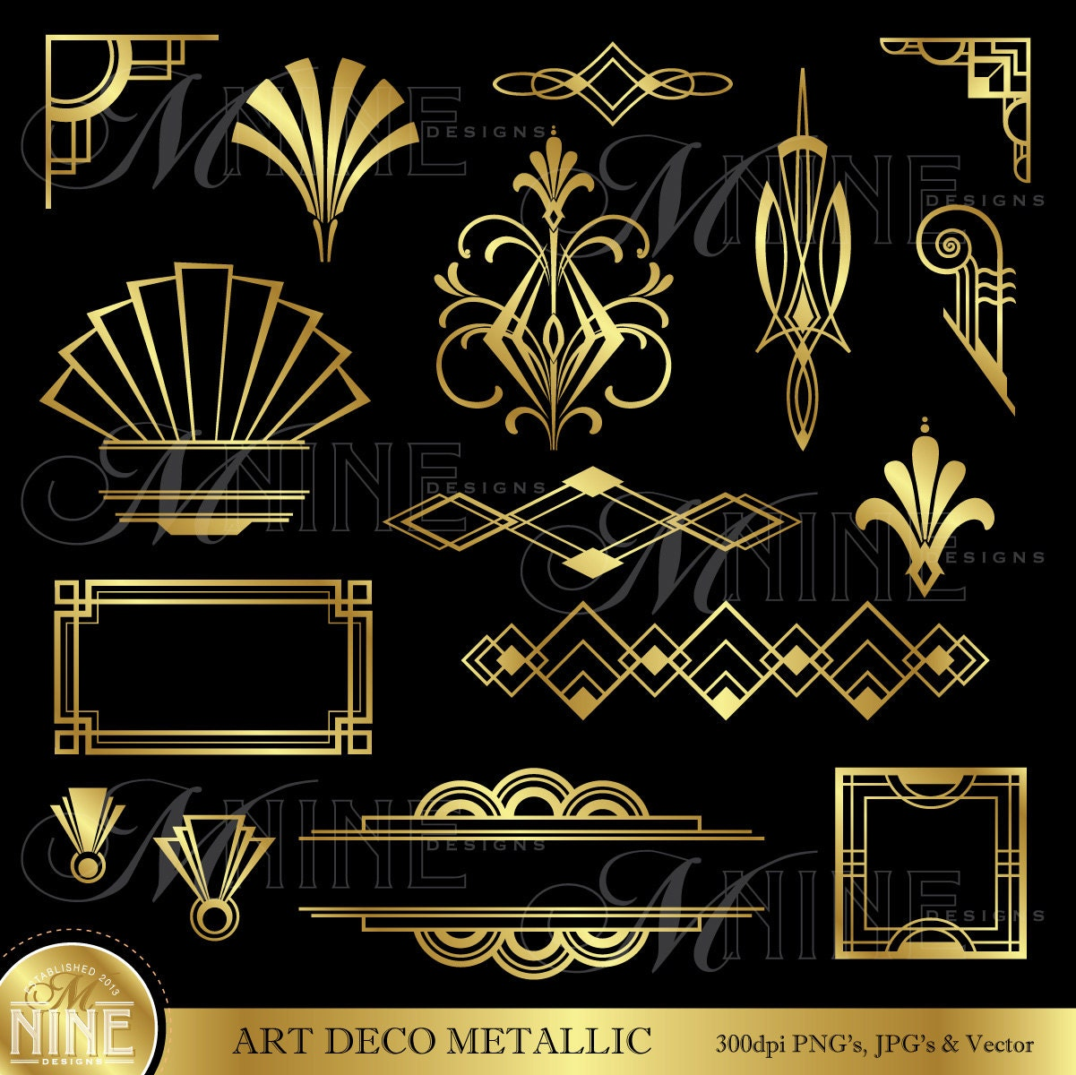 Art deco clip art gold art deco accents design for Design art deco