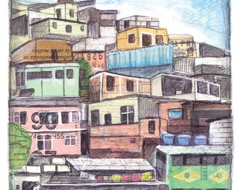 Favela inspired illustration, using collage and mixed media