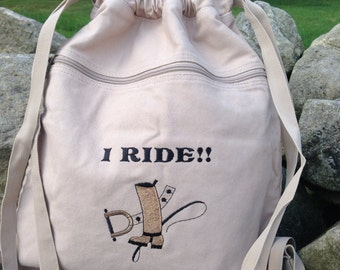 Embroidered Personalized Horse Drawstring Bags