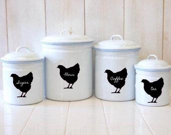 Chicken Chalkboard Canister Labels - Set  of 6 - Hen Mason Jar Labels