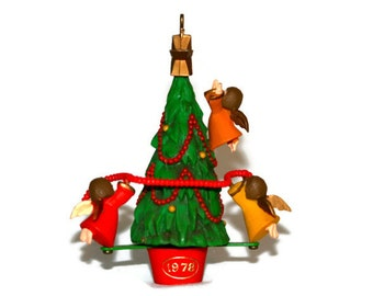 Hallmark Ornament - 1978 Angels Decorating a Tree - Dated Base - Rare - Twirl About Angels - Stocking Stuffer - Collectible