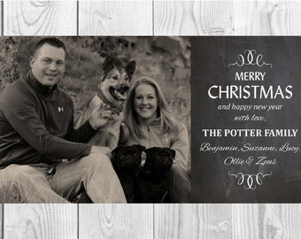 Personalized Christmas Chalkboard Card (8x4): Digital File