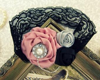 Rosette Satin Rose Flower Headband