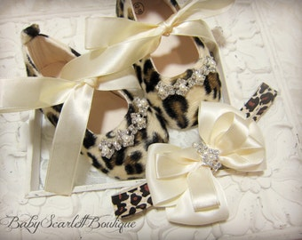 Luxury Leopard Baby Girl Shoes with Headband Set