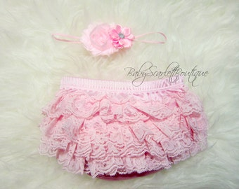 Light Pink Baby Girl Lace Ruffle Bloomer,Diaper Cover and Headband Set