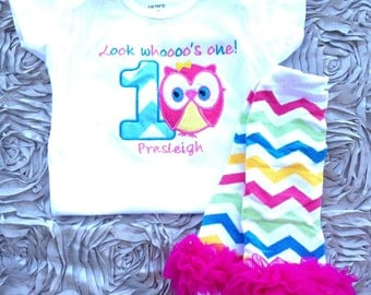 Aqua chevron look whoooo's one owl birthday shirt - 1st birthday shirt and leg warmers - custom birthday shirt