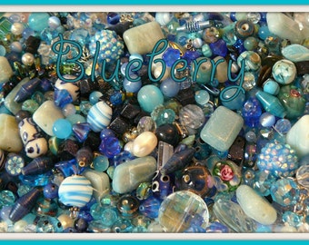 JellyJarJewels - Delicious Beads by the Scoop - Blueberry - beautiful blues - 15-30 beads per scoop