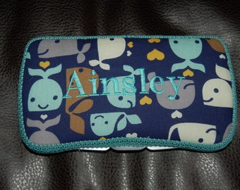 Custom Whale wipes case w/trim can be PERSONALIZED