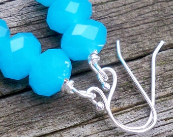 Mayia - Aqua Blue Faceted Glass Rondel Sterling Silver Beaded Dangle Fish Hook Earrings