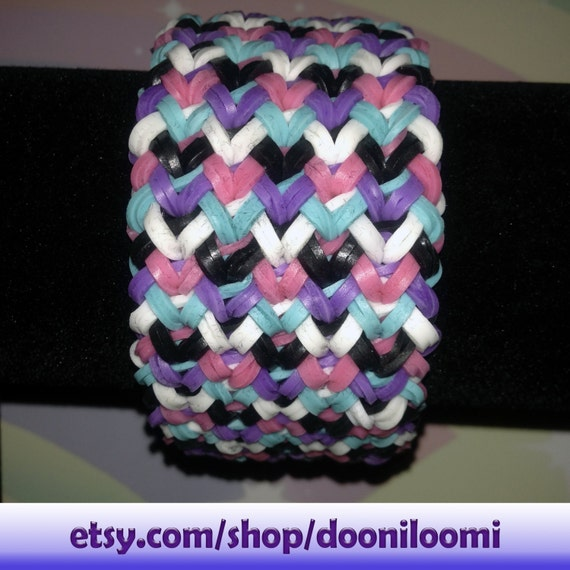 How To Make A Small Basket Weave Loom Bracelet : Pretty girly ultra thick weave braid rainbow loom stretch