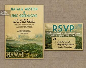Hawaii Wedding Invitation - Printable Vintage Hawaiian Wedding Invites - Retro Maui Oahu Hawaii Wedding Suite or Solo VTW