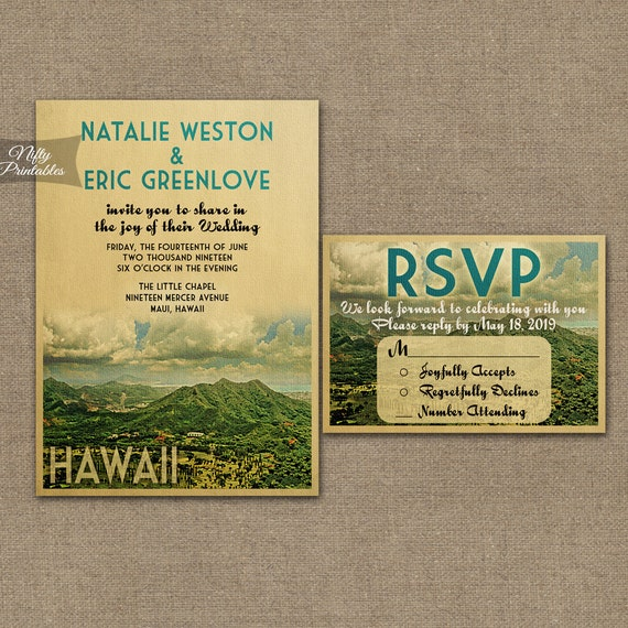 Wedding Invitations Hawaii: Hawaii Wedding Invitation Printable Vintage Hawaiian Wedding